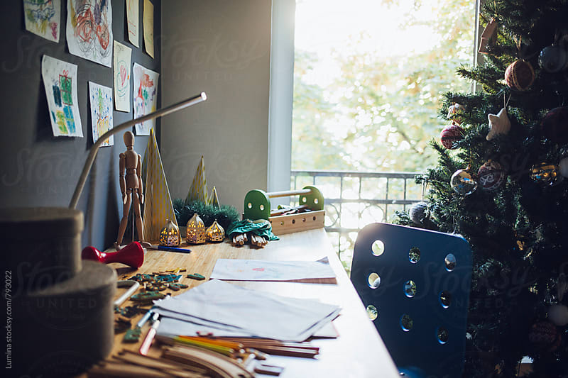 Desk in a Children's Room at Christmas by Lumina for Stocksy United
