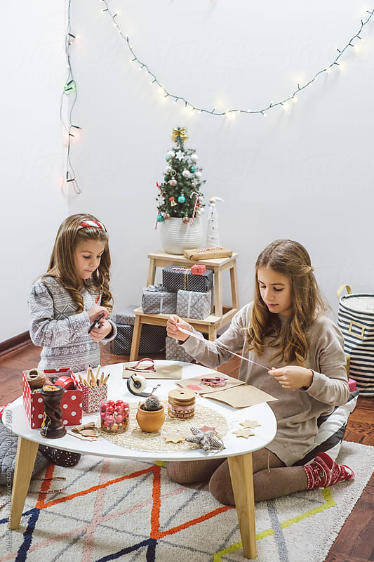 Children Making Christmas Cards by Aleksandra Jankovic for Stocksy United