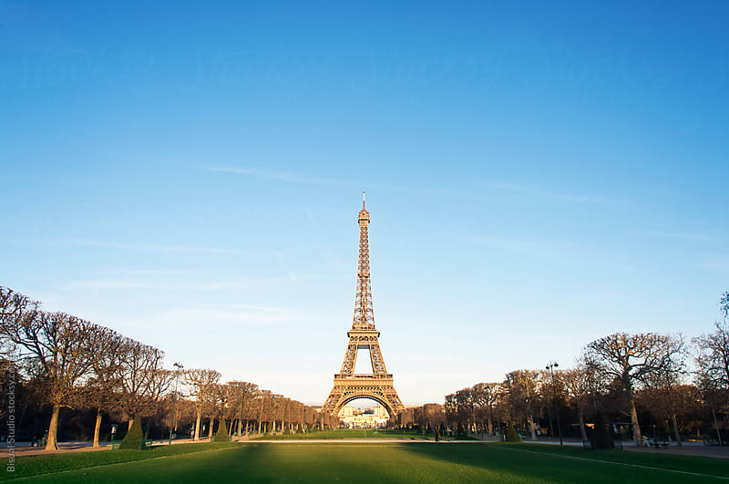 Views of Eiffel Tower from the Champ de Mars by Bisual Studio for Stocksy United