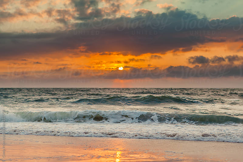 Sunset at the beach in the Netherlands by Cindy Prins for Stocksy United