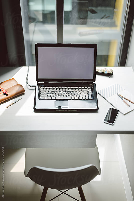 Desk with laptop at home office by Aleksandra Jankovic for Stocksy United