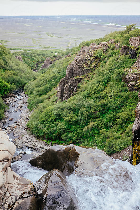 Look from top of Svartifoss waterfall by Gabriel Tichy for Stocksy United