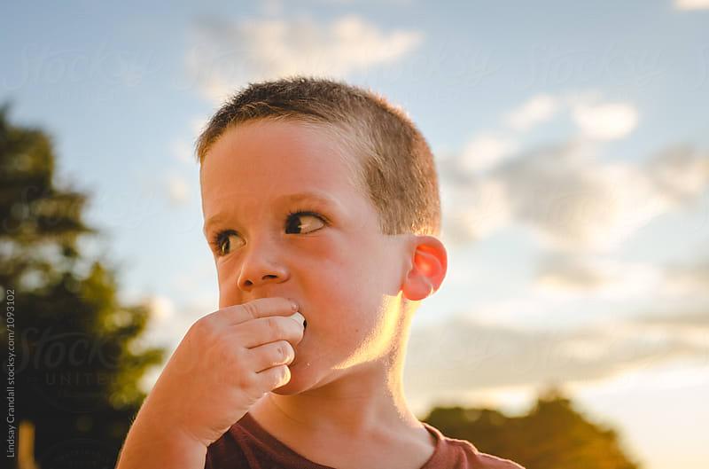 Little boy eating marshmallows by Lindsay Crandall for Stocksy United