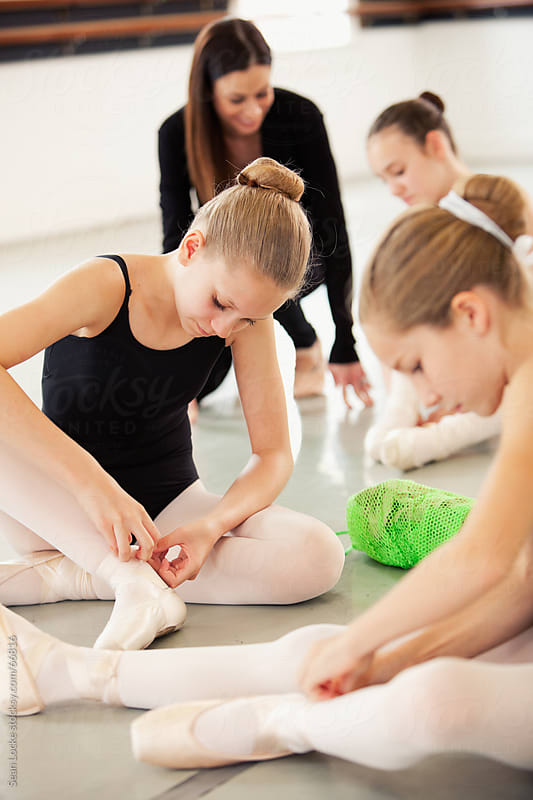 Ballet: Class Getting Ready for Pointe Practice by Sean Locke for Stocksy United