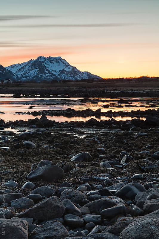 Norwegian landscape with Midnight Sun by Marilar Irastorza for Stocksy United