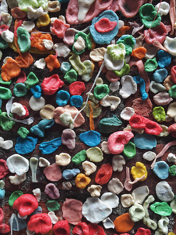 Close up of the Gum Wall, Seattle, WA by Paul Edmondson for Stocksy United