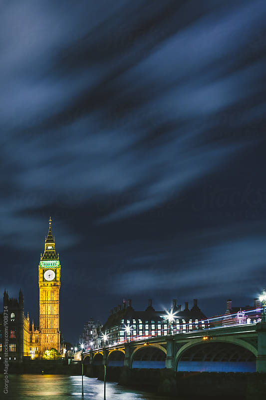 Big Ben by Night, London Famous Landmark by Giorgio Magini for Stocksy United