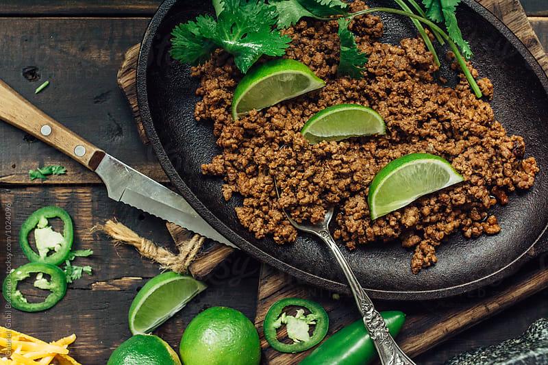 Taco meat for tostadas by Gabriel (Gabi) Bucataru for Stocksy United