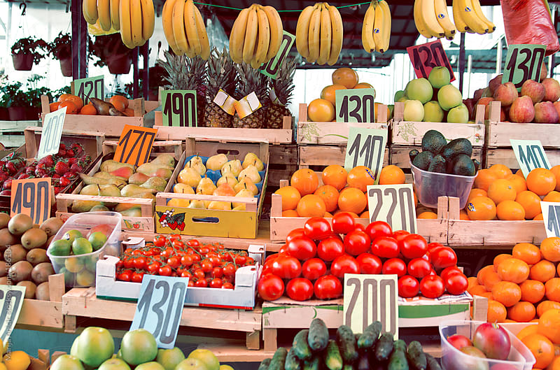 All kind of fruits and vegetables on the market by Marija Anicic for Stocksy United