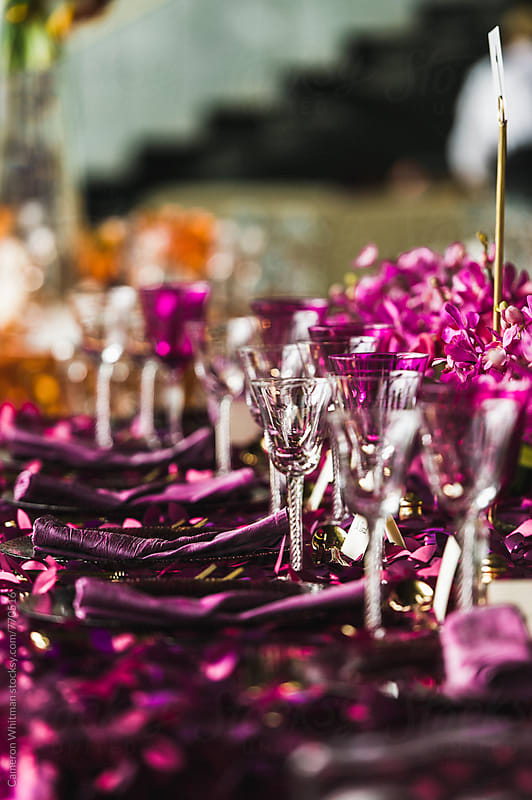 Table Setup for an elegant gala event by Cameron Whitman for Stocksy United