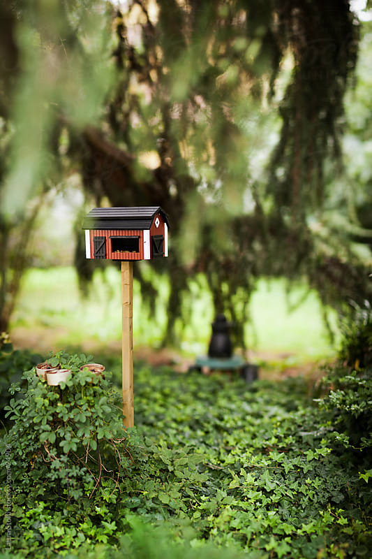 Barn shaped birds house and feeder in lush garden by Laura Stolfi for Stocksy United