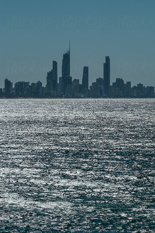 Looking across the ocean towards Surfers Paradise Skyline, GOLD COAST by Rowena Naylor for Stocksy United