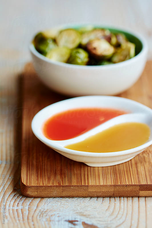 Roasted Brussels Sprouts with 2 Dips by Harald Walker for Stocksy United
