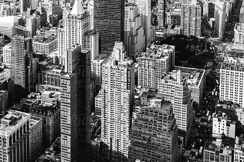 Overhead of a Manhattan skyline. by BONNINSTUDIO for Stocksy United