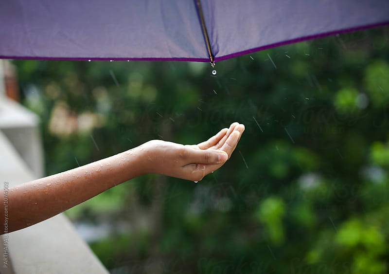 Rain water strikes the palm of a girl by PARTHA PAL for Stocksy United