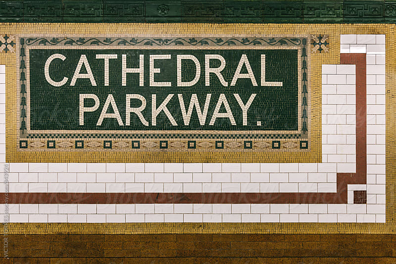 Classic Mosaic Sign in Cathedral Parkway Train Station, Harlem by Victor Torres for Stocksy United