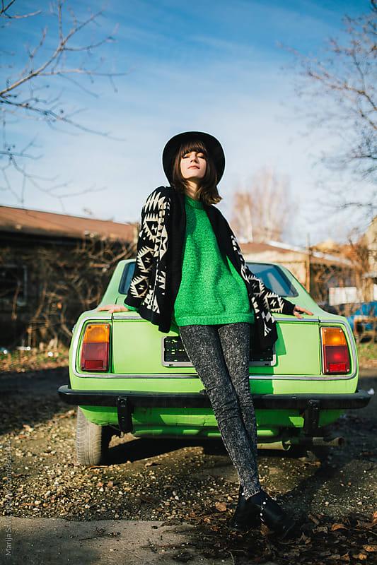 Beautiful Woman on a Road Trip by Marija Savic for Stocksy United