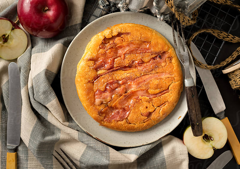 Decadent Baked Apple and Bacon Pancake by Jeff Wasserman for Stocksy United