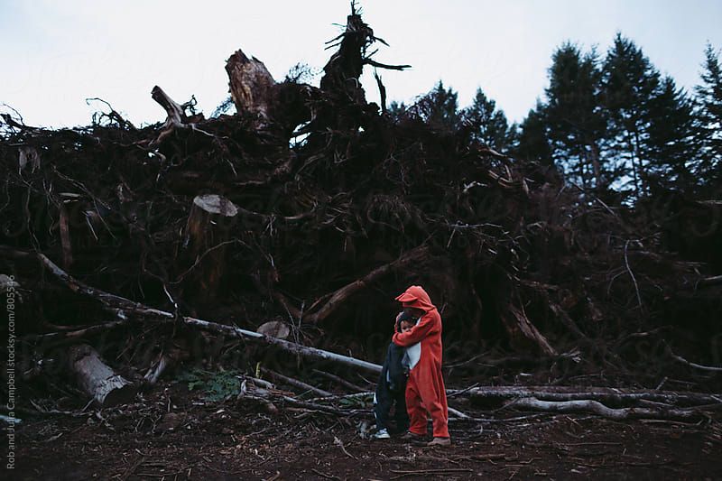 Kids dressed up like fox and raccoon hugging sadly near pile of clearcut logs by Rob and Julia Campbell for Stocksy United