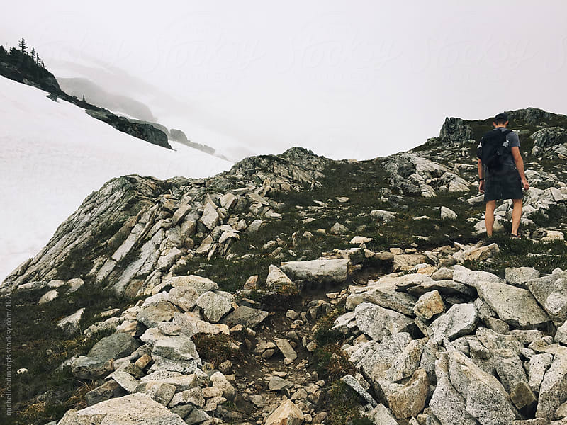 Male Hiker/Backpacker on a Mountain Trail in Washington by michelle edmonds for Stocksy United