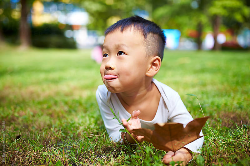 lovely little boy in the sunny autumn park by cuiyan Liu for Stocksy United