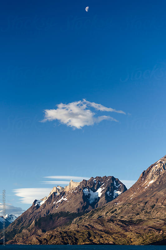 Moon over Torres del Paine National Park on a late summer day by Jovana Milanko for Stocksy United