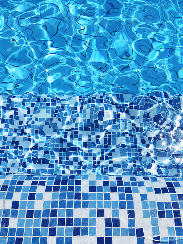 blue swimming pool tile background by Sonja Lekovic for Stocksy United