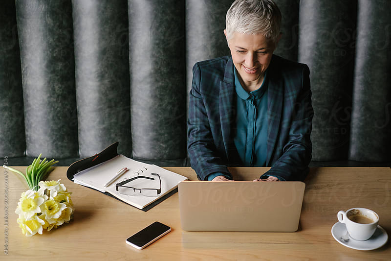 Senior Woman Working on the Laptop by Aleksandra Jankovic for Stocksy United