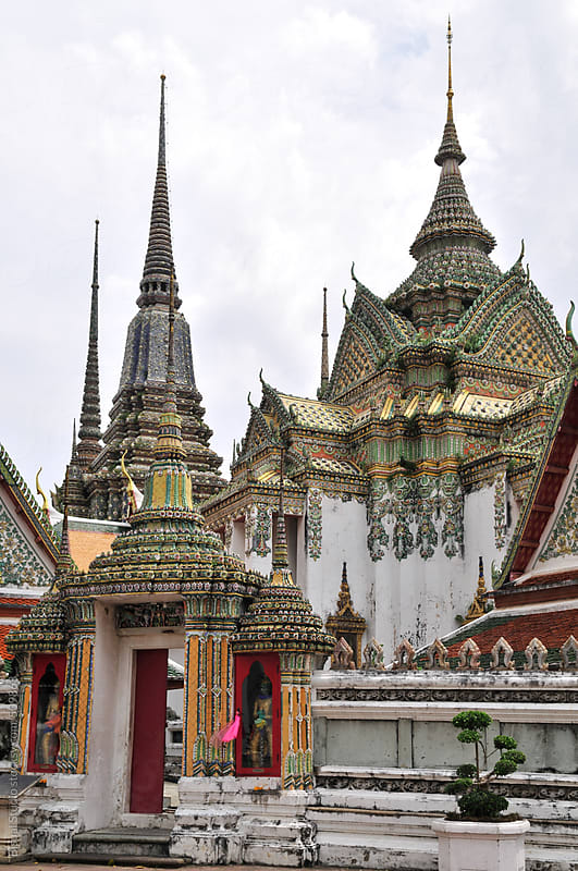Decorated stupas in Wat Pho, Bangkok by Bisual Studio for Stocksy United