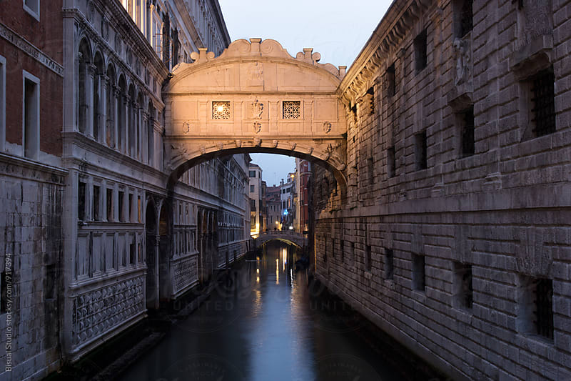 The Bridge of Sighs at dusk by Bisual Studio for Stocksy United