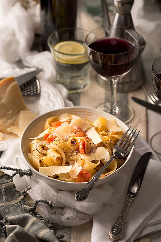 Italian Pappardelle Pasta with Caramelized Onion by Jeff Wasserman for Stocksy United