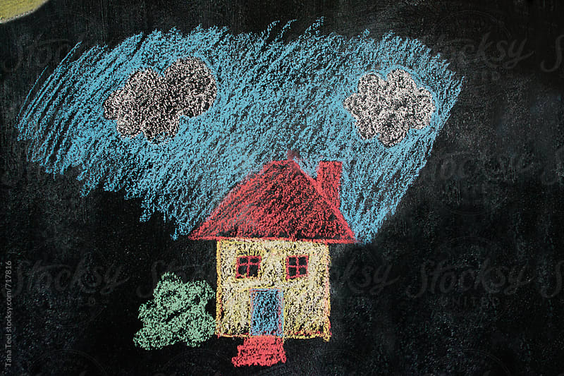 chalk drawing of a house by Tana Teel for Stocksy United