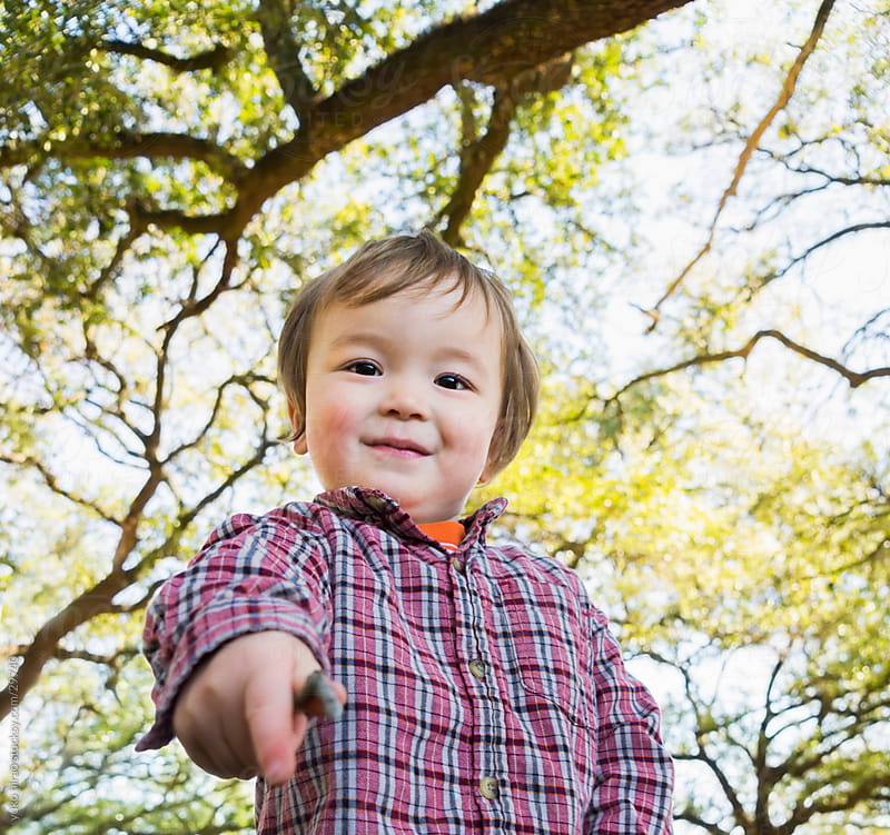 Smiley litte boy portrait with tree background at park by yuko hirao for Stocksy United