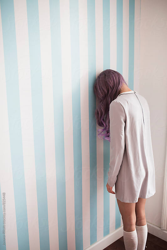 Back view of fashionable young woman with purple hair  by Jovana Rikalo for Stocksy United
