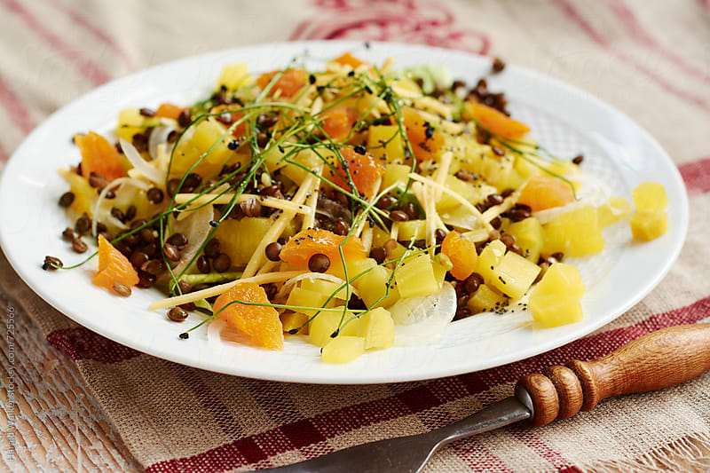 Golden Beet, Green Lentil Salad with Apricots by Harald Walker for Stocksy United