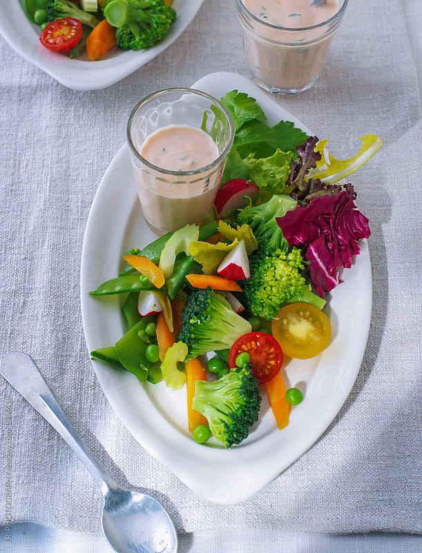 Vegetable with cocktail sauce by J.R. PHOTOGRAPHY for Stocksy United