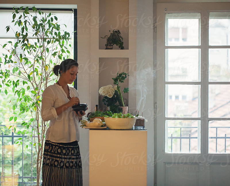 Woman Making a Vegetarian Lunch by Lumina for Stocksy United