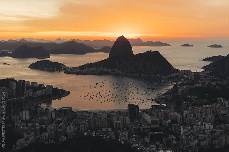 Rio de Janeiro - Sunrise Behind Sugarloaf by VISUALSPECTRUM for Stocksy United
