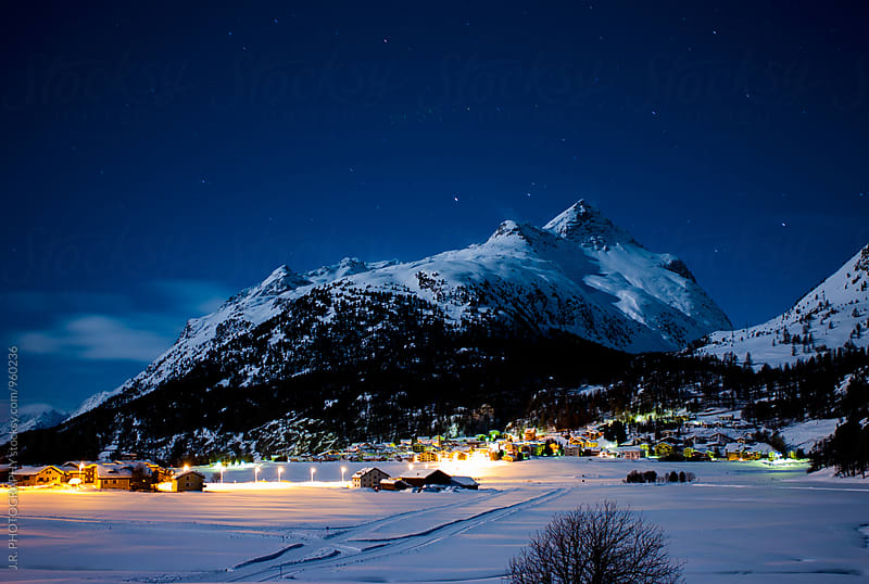 Mountain village at the night by J.R. PHOTOGRAPHY for Stocksy United