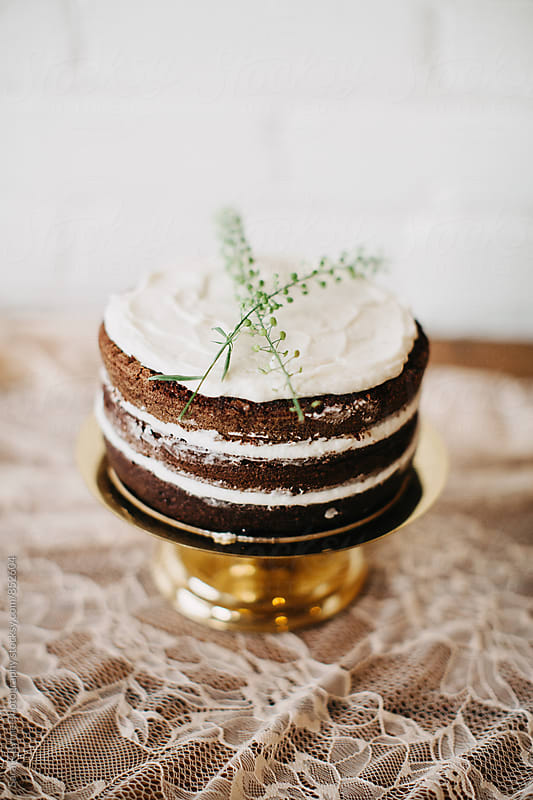 Naked Wedding Cake by Sara K Byrne Photography for Stocksy United