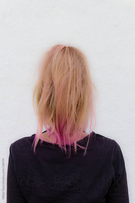 blonde hair with pink ends by Gillian Vann for Stocksy United