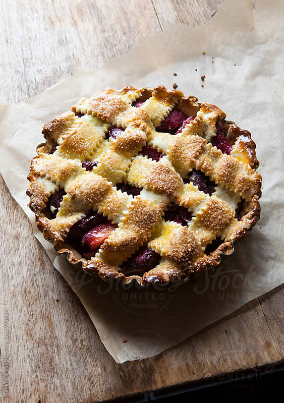 Fruit pie with shortcrust pastry  by Nadine Greeff for Stocksy United
