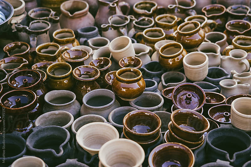 High angle view of pottery displayed outdoors by Maa Hoo for Stocksy United