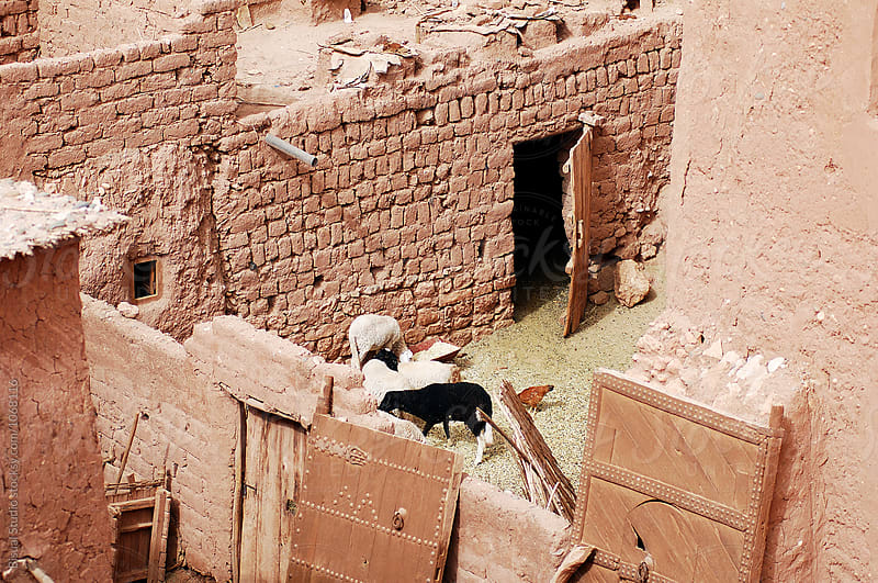 Corral inside Ait Benhaddou. Fortified mudbrick kasbah, Ouarzazate, Morocco by Bisual Studio for Stocksy United