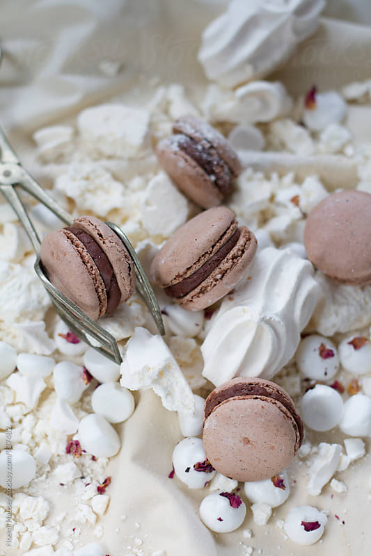 Chocolate macaron and meringue by Noemi Hauser for Stocksy United