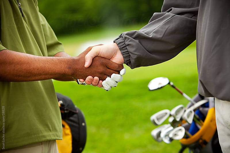 Golf: Men Shaking Hands at the Course by Sean Locke for Stocksy United