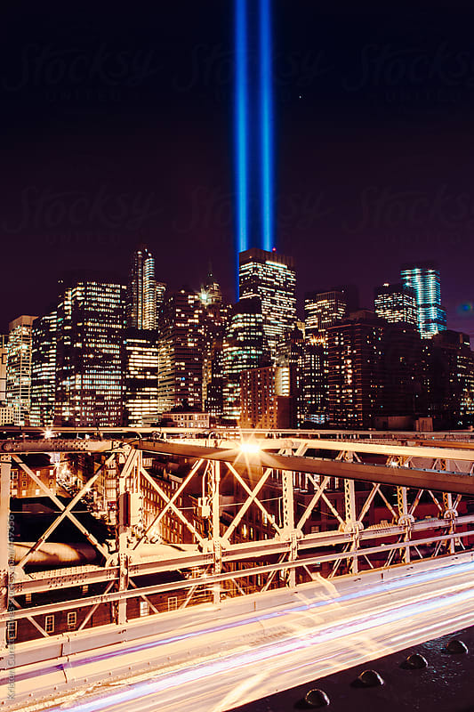 light beams in memory of September 11 NYC by Kristen Curette Hines for Stocksy United