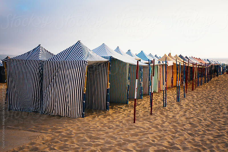 Vintage Beach Huts in Nazare, Portugal by Good Vibrations Images for Stocksy United