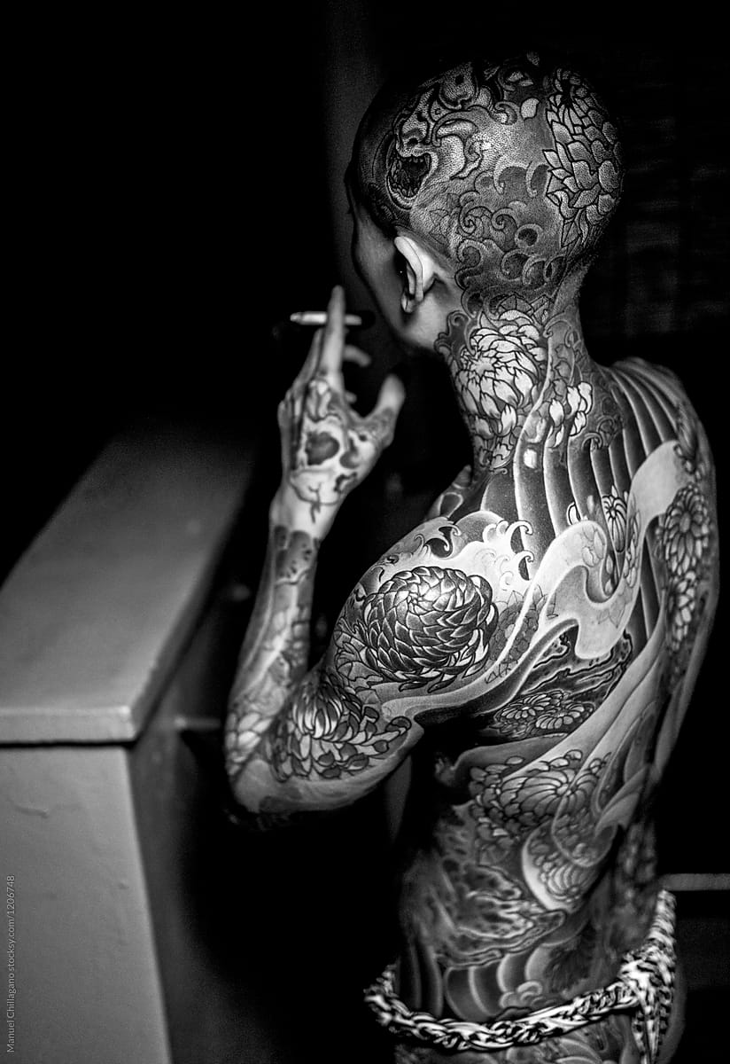 e1e847e4c Black and White portrait of a heavily tattooed Japanese man by Manuel  Chillagano for Stocksy United