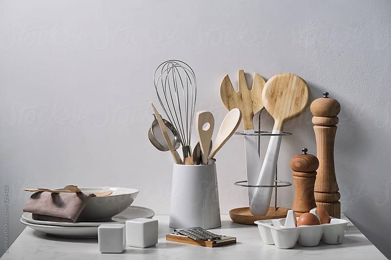 White Kitchen Set by Lumina for Stocksy United